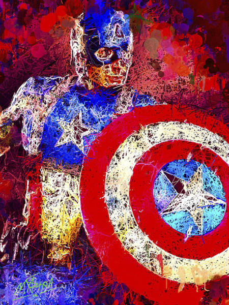 Mixed Media - Captain America by Al Matra