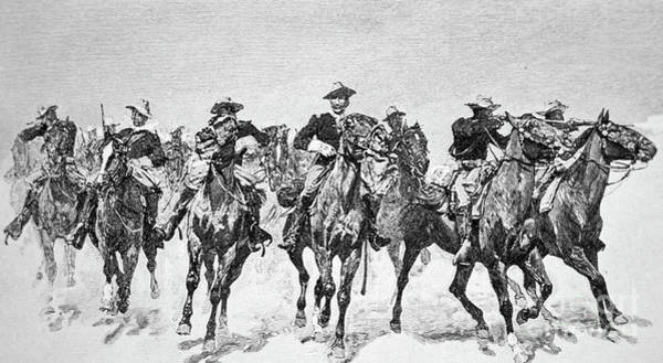 Drawing - Captain Dodge's Troopers To The Rescue by Frederic Remington