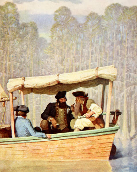 Rudder Painting - Captain Flood At A Meeting In A Cutter by Newell Convers Wyeth