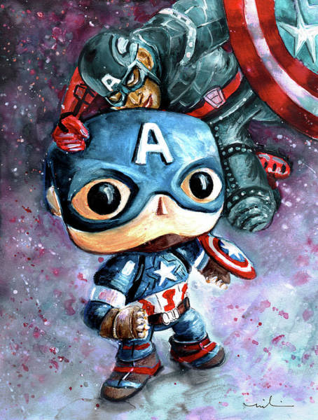 Painting - Captain Funko And Captain America by Miki De Goodaboom