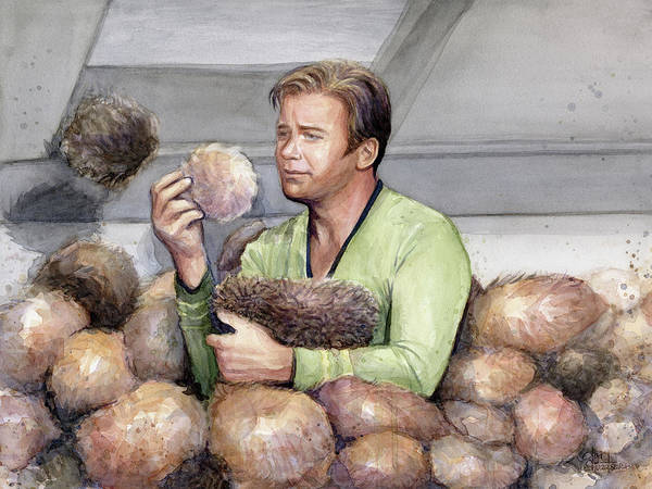 Fan Painting - Captain Kirk And Tribbles by Olga Shvartsur