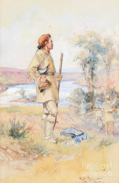 Native American Culture Painting - Captain Lewis At Black Eagle Falls by Celestial Images