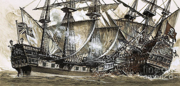 Galleons Wall Art - Painting - Captain Maynard's Sloop Bore Down On The Pirate Ship by Clive Uptton