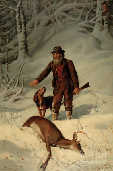 Wall Art - Painting - Captain Parker, Still Hunting In The Snow by Arthur Fitzwilliam Tait