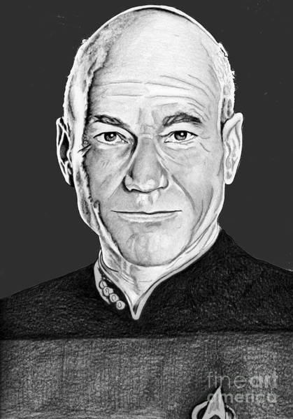 Drawing - Captain Picard by Bill Richards