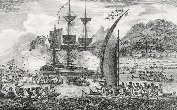 Polynesia Wall Art - Drawing - Captain Wallis Attacked By The Indians, 1767  by English School
