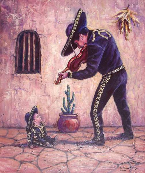 Mariachi Painting - Captivated Listener by Ed Breeding