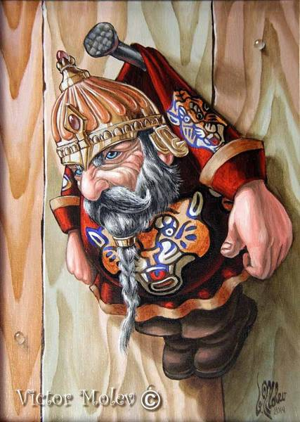 Painting - Captive Dwarf In Tiger Suit by Victor Molev