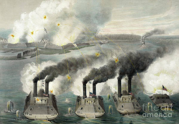 Wall Art - Painting - Capture Of Fort Henry By Us Gun Boats Under The Command Of Flag Officer Foote by American School