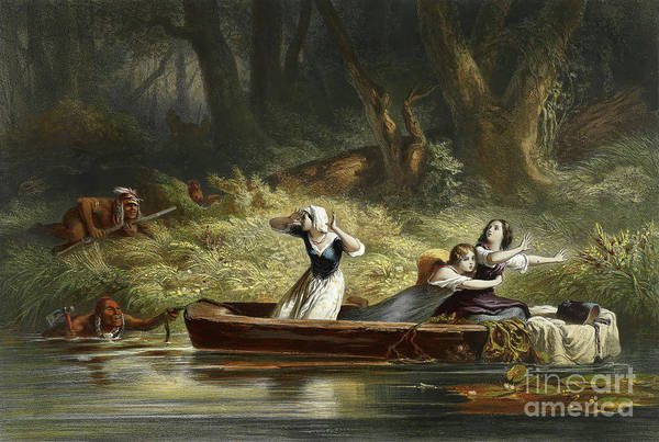 Daniel Wall Art - Painting - Capture Of The Daughters Of Daniel Boone And Richard Callaway By The Indians by Karl Bodmer