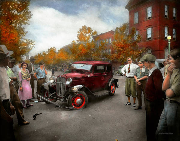 Photograph - Car - Accident - Late For Tee Time 1932 by Mike Savad