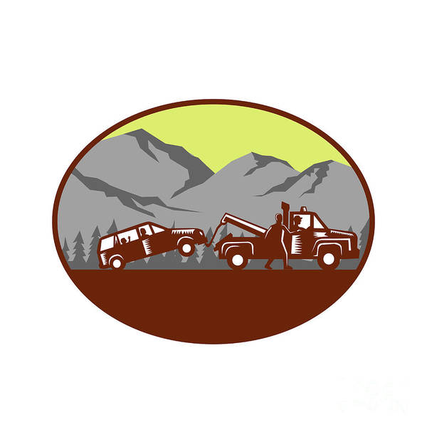 Wall Art - Digital Art - Car Being Towed Away Mountains Oval Woodcut by Aloysius Patrimonio