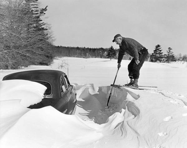 Snowshoe Photograph - Car Buried In Snow by Underwood Archives