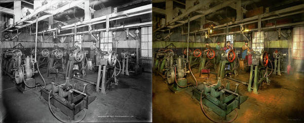 Photograph - Car - Factory - Engine Testing 1903 - Side By Side by Mike Savad