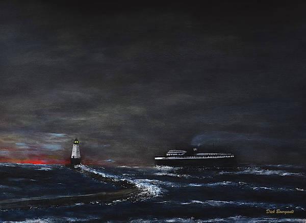 Car Ferry Badger November Crossing Art Print