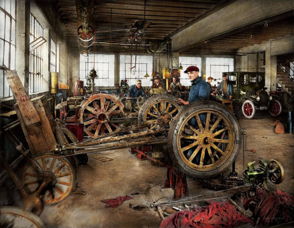 Photograph - Car - Garage - Blue Collar Work 1923 by Mike Savad