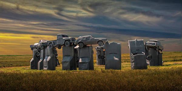Wall Art - Photograph - Car Henge In Alliance Nebraska At Sunset Panorama by Randall Nyhof