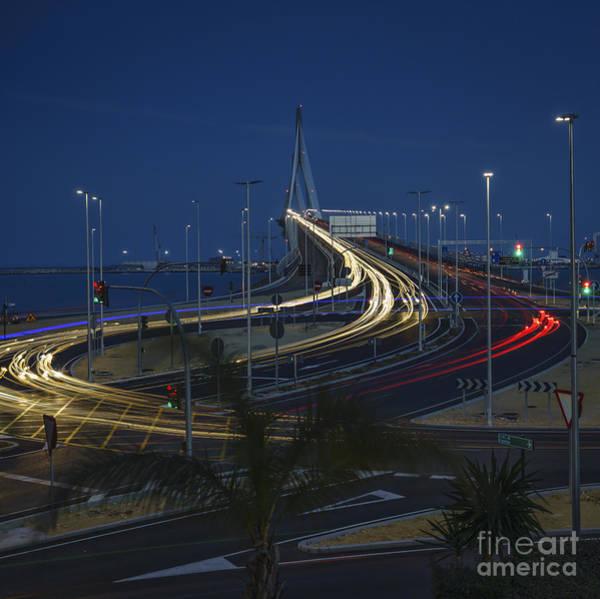 Photograph - Car Light Streaks On 1812 Constitution Memorial Bridge Cadiz Spain by Pablo Avanzini