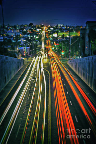 Photograph - Car Light Trails And Urban Landscape In San Diego, California by Sam Antonio Photography