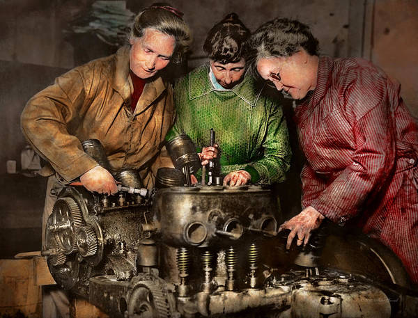 Colorization Photograph - Car Mechanic - In A Mothers Care 1900 by Mike Savad
