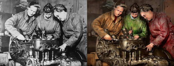 Colorization Photograph - Car Mechanic - In A Mothers Care 1900 - Side By Side by Mike Savad