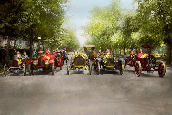 Metro Detroit Photograph - Car - Race - Hold On To Your Hats 1915 by Mike Savad