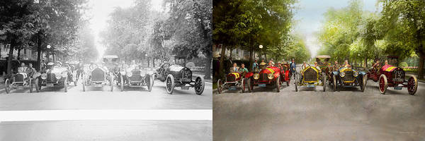 Metro Detroit Photograph - Car - Race - Hold On To Your Hats 1915 - Side By Side by Mike Savad
