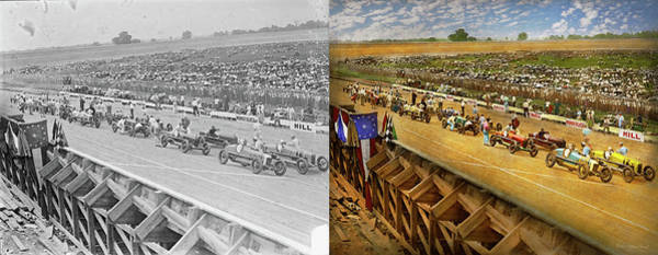 Photograph - Car Race - Life In The Fast Lane 1925 - Side By Side by Mike Savad