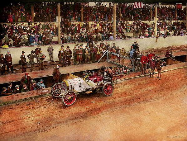 Photograph - Car Race - Racing To Get Gas 1908 by Mike Savad