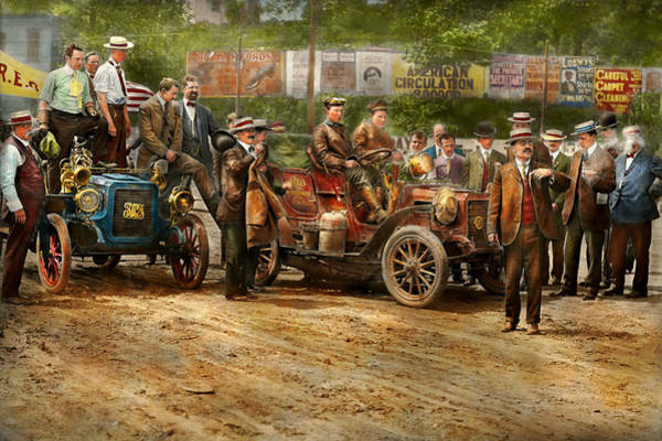 Photograph - Car - Race - The End Of A Long Journey 1906 by Mike Savad