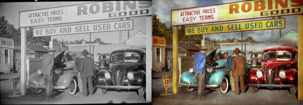 Photograph - Car - Used - The Sales Pitch 1939 - Side By Side by Mike Savad