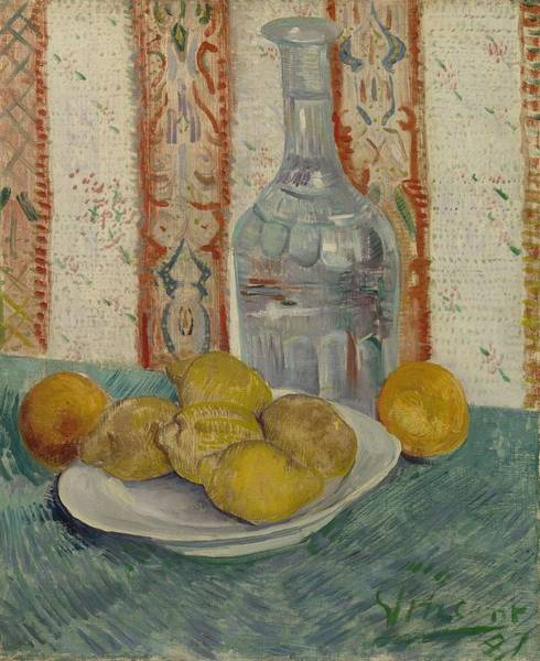 Painting - Carafe And Dish With Citrus Fruit Paris February  March 1887 Vincent Van Gogh 1853  1890 by Artistic Panda
