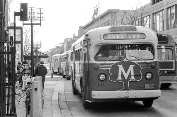 Photograph - Caravan Of Buses On Nicollet Mall by Mike Evangelist