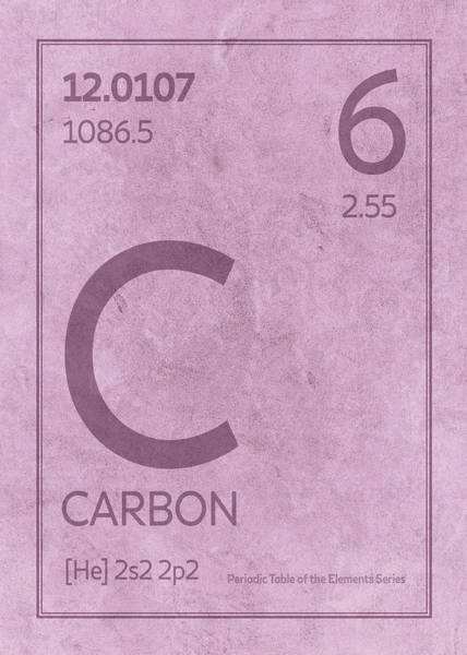 Atomic Number Wall Art - Mixed Media - Carbon Element Symbol Periodic Table Series 006 by Design Turnpike