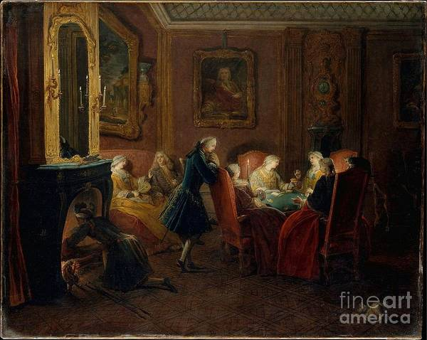 1781 Painting - Card Players In A Drawing by MotionAge Designs
