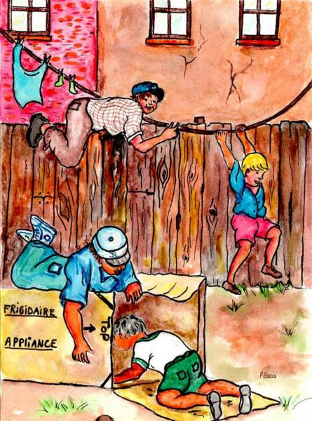Painting - Cardboard Boxes Clotheslines And Fences by Philip Bracco