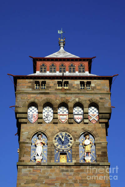 Photograph - Cardiff Castle Clock Tower by James Brunker