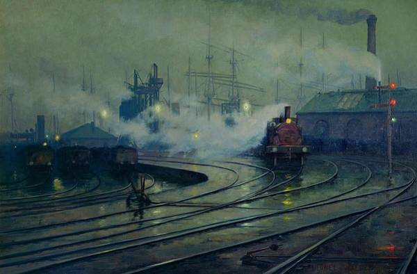 Trains Painting - Cardiff Docks by Lionel Walden