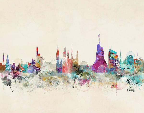 Whimsical Digital Art - Cardiff Wales Skyline by Bri Buckley