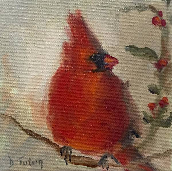 Painting - Cardinal And Holly by Donna Tuten