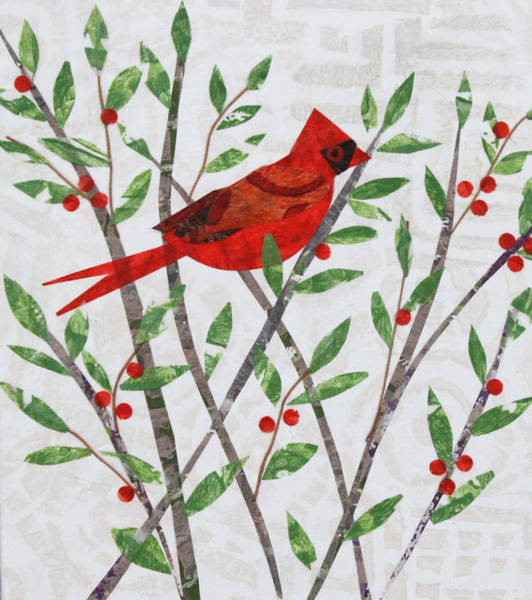 Sparrow Mixed Media - Cardinal And Winter Berries by Janyce Boynton
