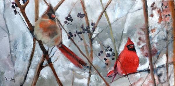 Painting - Cardinal Couple by Donna Tuten