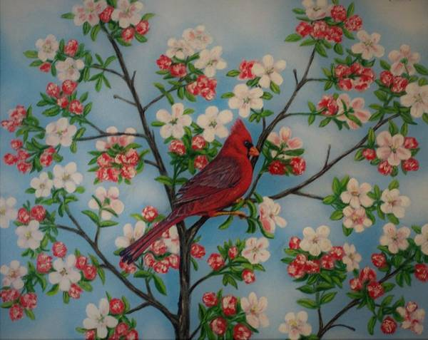 Wall Art - Painting - Cardinal Dogwood by Charles Hill