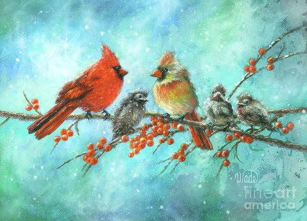 Wall Art - Painting - Cardinal Family Three Kids by Vickie Wade