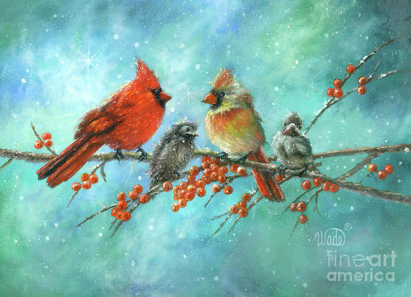 Wall Art - Painting - Cardinal Family Two Babies by Vickie Wade