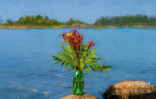 Digital Art - Cardinal Flowers On A Rock by Les Palenik