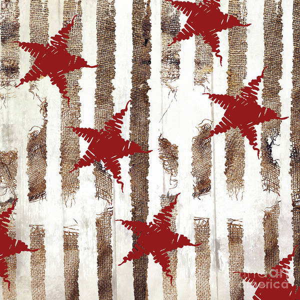 Wall Art - Painting - Cardinal Holiday Burlap Star Pattern by Mindy Sommers