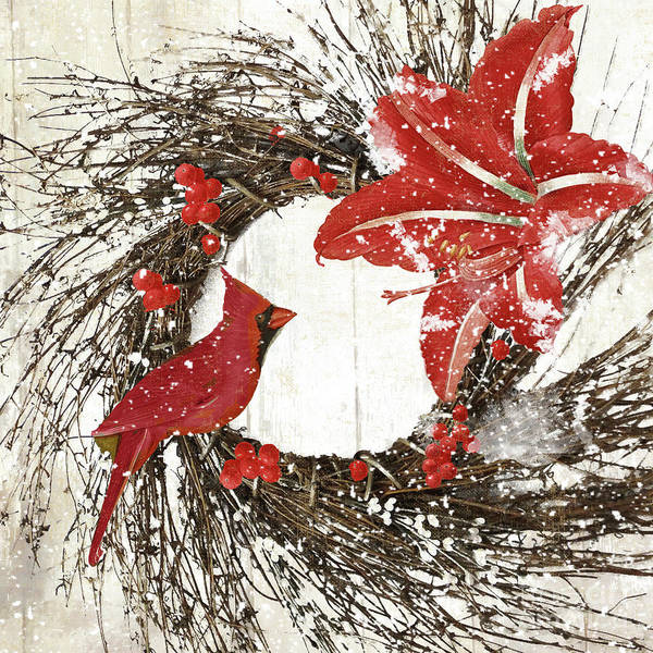 Wall Art - Painting - Cardinal Holiday I by Mindy Sommers