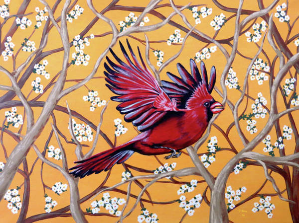 Painting - Cardinal In Flight by Teresa Wing