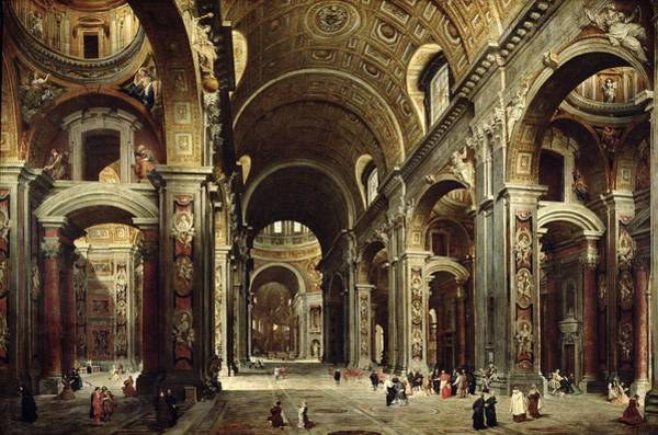 Wall Art - Painting - Cardinal Melchior De Polignac Visiting St Peters In Rome by Giovanni Paolo Pannini or Panini